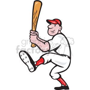 baseball player batting front kick clipart. Commercial use image # 391446