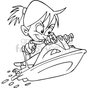 girl on a jet ski summer fun black and white clipart. Commercial use image # 391458