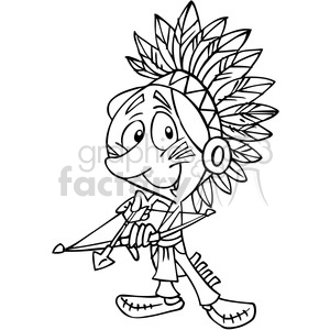 Native American guy holding bow and arrow black and white clipart. Commercial use image # 391489