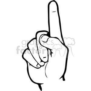 ASL sign language 1 clipart illustration
