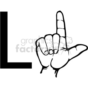 sign+language education letters hand black+white alphabet l