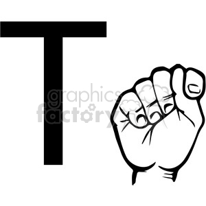 ASL sign language T clipart illustration worksheet clipart. Commercial use image # 392304