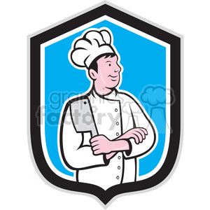 chef with arms crossed in shield shape clipart. Royalty-free image # 392334