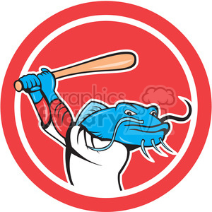 baseball catfish batting up in circle shape clipart. Commercial use image # 392354