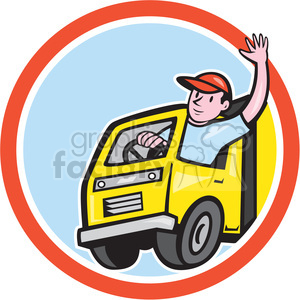 delivery truck driver wave in circle shape clipart. Royalty-free image # 392364
