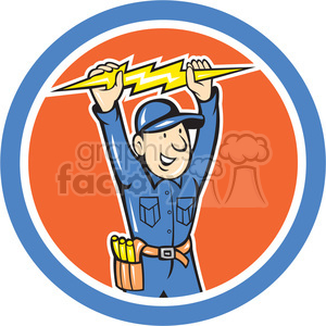 thunder bolt toolman in circle shape clipart. Commercial use image # 392384