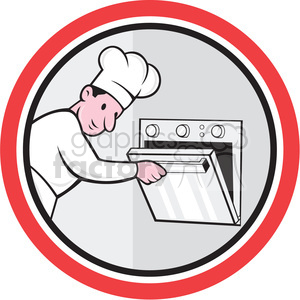 chef opening oven side shape clipart. Commercial use image # 392404