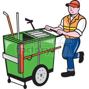 cleaner garbage cart push janitor shape clipart. Royalty-free image # 392414