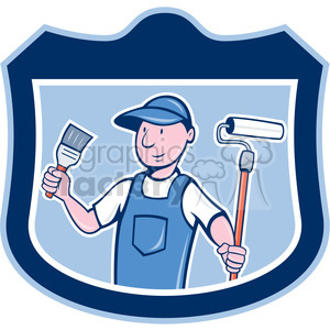 painter in shield shape clipart. Royalty-free image # 392424