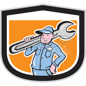 plumber carrying big wrench in shield shape clipart. Commercial use image # 392434