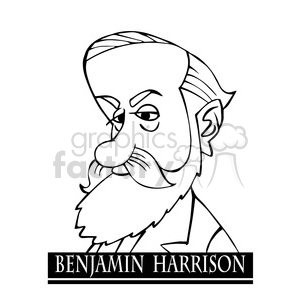 celebrity famous cartoon editorial-only people funny caricature benjamin+harrison president 23rd