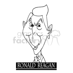 ronald reagan black white clipart. Royalty-free image # 393040