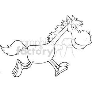 6865_Royalty_Free_Clip_Art_Black_and_White_Horse_Cartoon_Character_Running clipart. Royalty-free image # 393075