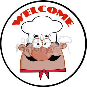 6829_Royalty_Free_RF_Clipart_African_American_Chef_Man_Face_Cartoon_Circle_Label