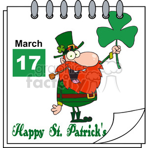 Royalty Free RF Clipart Illustration St Patricks Day Calendar clipart. Commercial use image # 393157