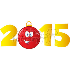 Royalty Free RF Clipart Illustration 2015 Year With Cartoon Red Christmas Ball