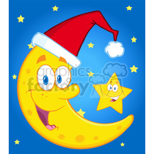 6976 Royalty Free RF Clipart Illustration Smiling Crescent Moon With Santa Hat And Happy Christmas Star Cartoon Characters