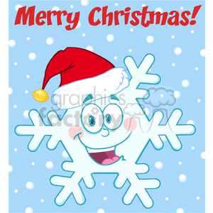 Royalty Free RF Clipart Illustration Merry Christmas Greeting Snowflake Cartoon Mascot Character With Santa Hat clipart. Commercial use image # 393192