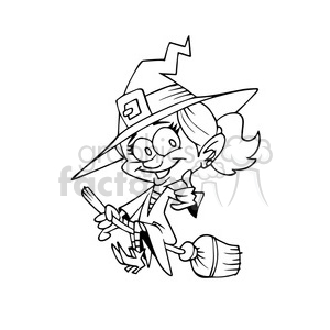 witch on a broom in black and white clipart. Royalty-free image # 393269