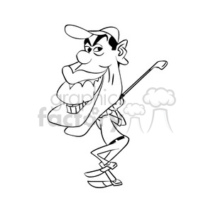 tiger woods black and white clipart. Royalty-free image # 393339