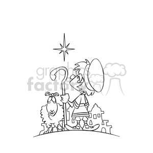 cartoon north star sheep shepherd black white clipart. Royalty-free image # 393345