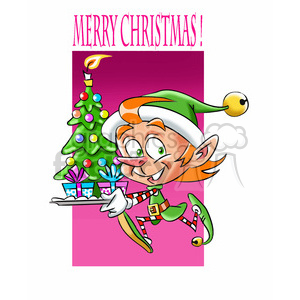 elf running with small tree clipart. Commercial use image # 393355