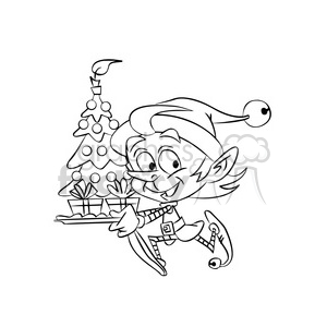 christmas elf running with a tree clipart. Royalty-free image # 393365