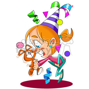 girl celebrating her birthday party clipart. Commercial use image # 393395