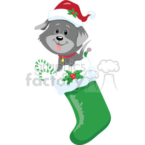 puppy in a stocking clipart. Commercial use image # 393423