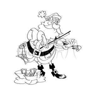 santa playing the violin black white clipart. Commercial use image # 393473