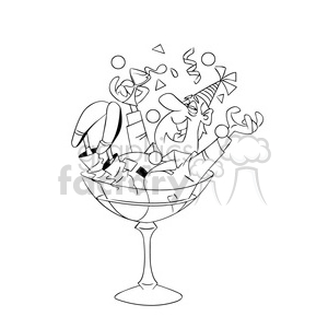 happy new year party guy black white clipart. Royalty-free image # 393493