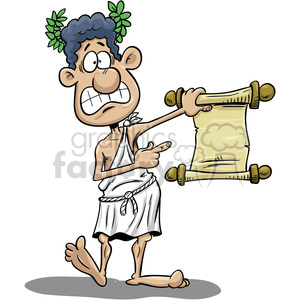 cartoon greek guy holding paper scroll clipart. Royalty-free image # 393533