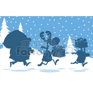 Santa Claus Reindeer And Elf Running In Christmas Night Silhouettes Design Card clipart. Royalty-free image # 393603