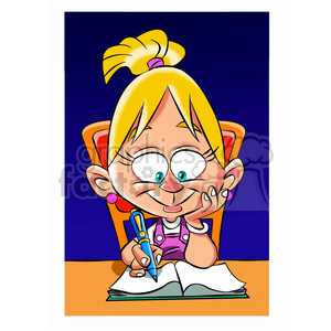 vector girl doing her homework cartoon clipart. Commercial use image # 393664