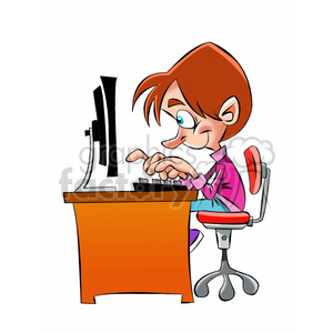 vector kid working at the computer cartoon clipart. Royalty-free image # 393724