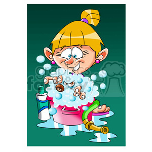 vector girl taking a bath cartoon clipart. Royalty-free icon # 393734