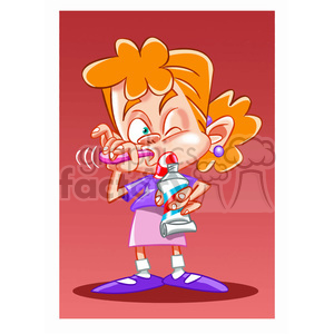 vector child brushing her teeth cartoon clipart. Commercial use image # 393754