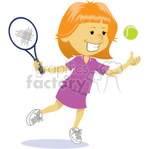 cartoon girl playing tennis clip art image clipart. Commercial use image # 393878