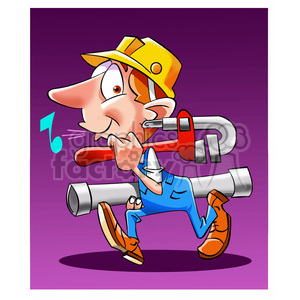 cartoon comic funny characters people plumber whistling worker construction man guy employee