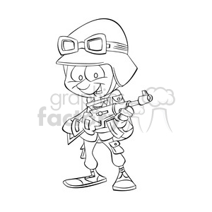 black and white image of military soldier soldado negro clipart. Royalty-free image # 393984