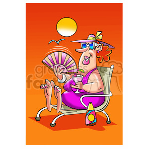 image of women on the beach senora con abanico clipart. Commercial use image # 394024
