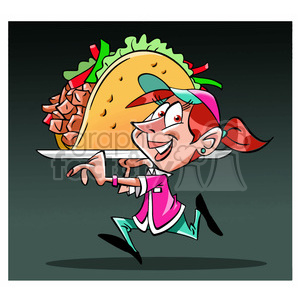 image of waitress carrying huge taco gigante clipart. Royalty-free image # 394034
