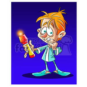 image of scared kid holding flashlight nino con linterna clipart. Royalty-free image # 394044