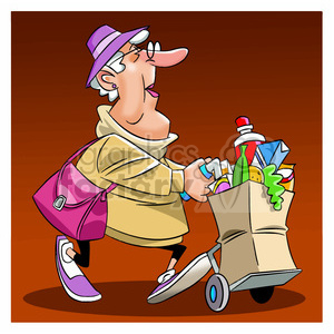women carrying groceries with cart clipart. Commercial use image # 394064