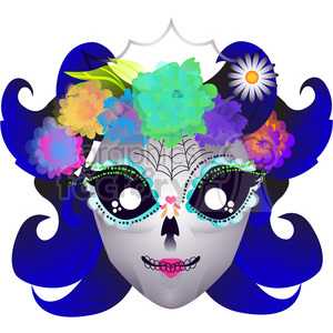 Day of the Dead lady skull character illustration clipart. Commercial use image # 394134