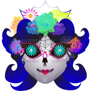 Day of the Dead female skull character illustration clipart. Commercial use image # 394154