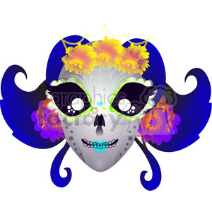 Day of the Dead female mask illustration clipart. Commercial use image # 394194