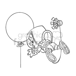 astronaut floating in space with balloon clipart. Commercial use image # 394224