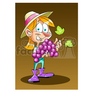girl holding huge bundle of grapes