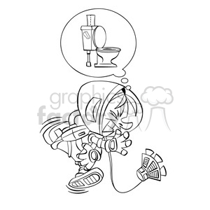 astronaut has to go to the bathroom in black and white clipart. Commercial use image # 394249